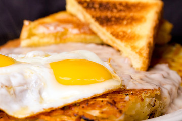 Hash Browns, Eggs and Toast