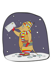 Rat the postman in a striped scarf and a hat with an envelope