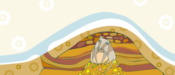 grey mouse in a hole sits on a heap of gold grain