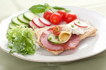 Dietetic sandwich crispbread