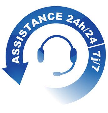 assistance 24h sur 24 7j sur 7 sur vignette fléchée bleue