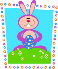 Easter card. Easter bunny on green grass