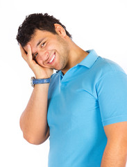 Young happy man posing isolated on white background.