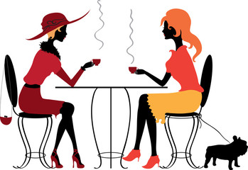 Two women in the cafe