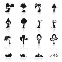 Fotobehang Abstractie Art Icon set Trees