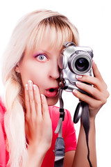 surprised women takes a pictures