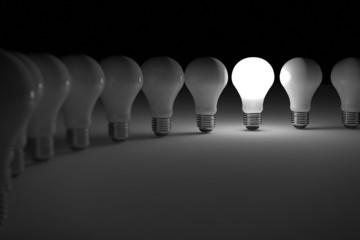 Lit light bulb in between a row of broken light bulbs