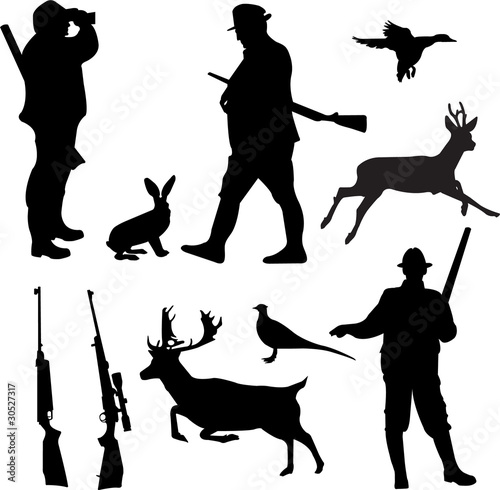 Quot Hunting Collection Silhouettes Vector Quot Stock Image And