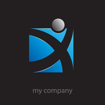 Logo progress, blue running man # Vector