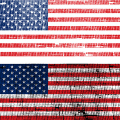 USA flags with old fabric grunge effect
