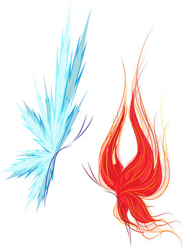 Set of two butterflies: fire and ice