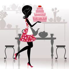 Girl with a romantic cake