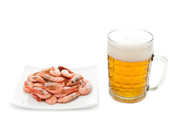 Fried prawns and fresh beer