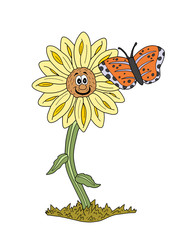 Smiling Sunflower and Butterfly