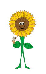 Smiling Sunflower With An Ice Cream