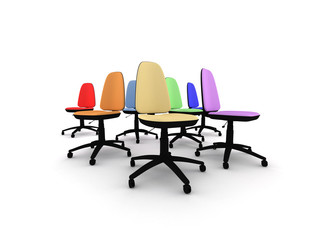 Seven rainbow coloured  office chairs isolated on white