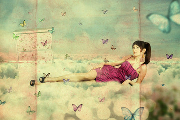 collage. beauty young woman on the sky, in clouds