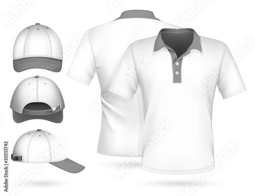 Vector. Men polo shirt design template and baseball cap.\