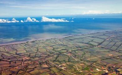 Aerial view of farmland near the Bangkok. Thailand