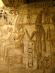 Pharaoh carvings in Medinet Habu temple, Luxor