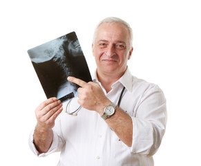 Friendly mature doctor chiropractor, human neck x-ray