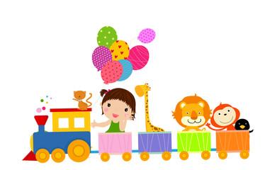 cute train and girl
