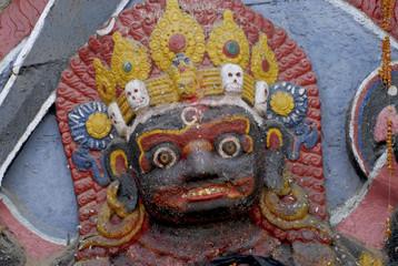Face of Statue of Kali in Kathmandu.