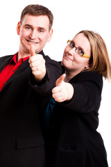 Mann und Frau mit Daumen Hoch Geste