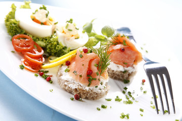 Tasty sandwich with salmon