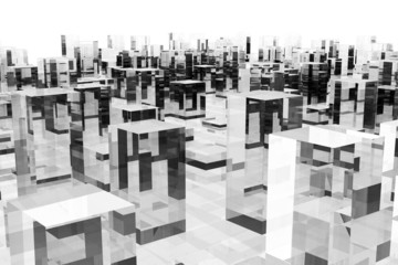 abstract glass blocks city