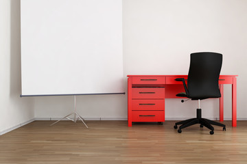 Living Room Setting - office table and flip-chart