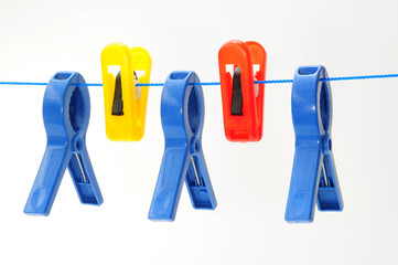 Colorful Plastic Cloth Pegs On A String