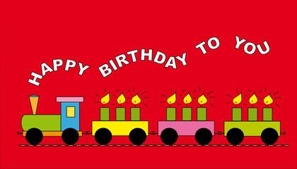 Rote Geburtstagskarte Motiv Lokomotive