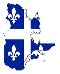 Fototapete - Quebec flag on map