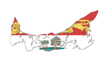 Fototapete - Prince Edward Island map and flag