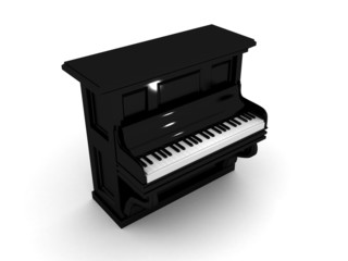 Black Piano With White Keyboard