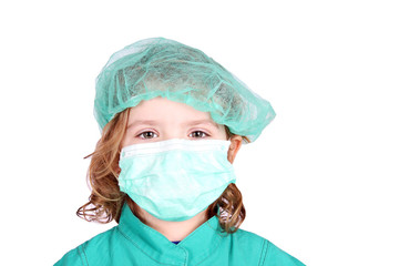 little girl doctor with mask