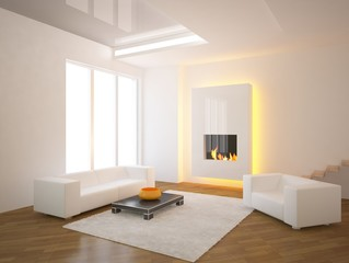 white interior with fire