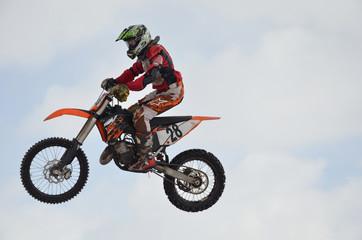 Russia, Samara, motocross rider jump, sky