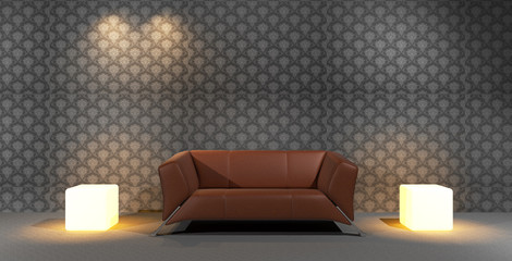 Brown Leather Sofa with Wallpaper Background