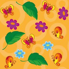 seamless flowers and butterflies