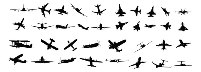miltary, passenger, propeller and business aircraft silhouettes