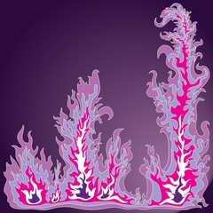 The image of a stylized flame of fire on a violet background