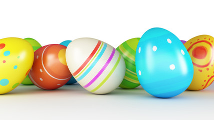 Easter eggs and chickens on white background