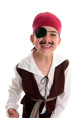 Happy laughing boy pirate costume