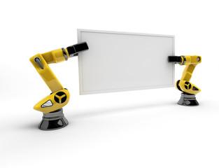 Roboterarme mit Schild (mit Freistellungspfad)
