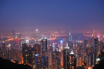 The night view of the Victoria Harbor.