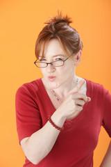 Suspicious Woman With Eyeglasses