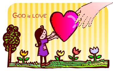 God is love by hand
