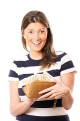 Full wallet-happy woman